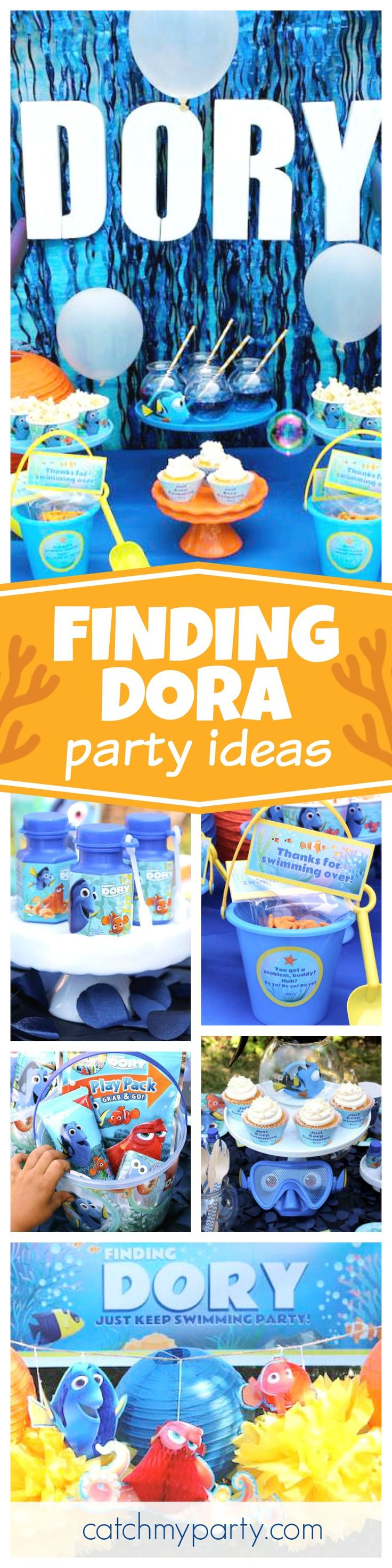 Check out this fun Finding Dora birthday party. The party favors are so cool!! See more party ideas and share yours at CatchMyParty.com