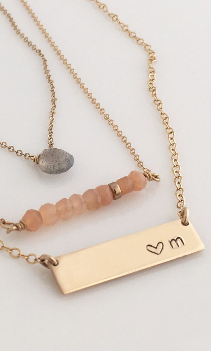 Short Nameplate Necklace/ Gold Bar Necklace