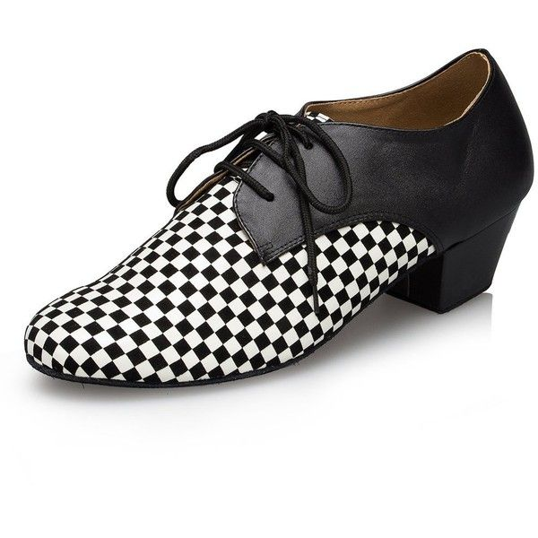 Miyoopark Men's Checkered Leather Latin Dance Shoes Party Shoes (125 ILS) ❤ liked on Polyvore featuring men's fashion, men's shoes, mens leather shoes, mens wide shoes, mens shoes, men's going out shoes and mens wide fit shoes