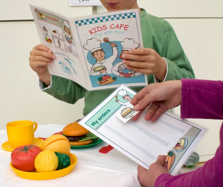 Therapics Kids Cafe Pack: A great way for kids to learn the language associated with food and a restaurant.  Also good for helping a non-verbal child playing alongside verbal kids in very typical kids make-believe play.