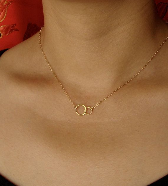 Tiny Forever Linked Together Circles Necklace in by Popsicledrum, $24.00