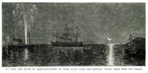 """Ο βασιλιάς Γεώργιος Α΄και η βασίλισσα Όλγα επιστρέφουν στη θαλαμηγό τους ύστερα από βραδινή διασκέδαση στο βρετανικό πλοίο """"Σέραπις""""."""