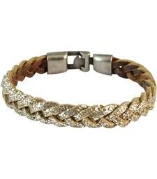 Buy Men Braided Leather Bracelet Gold color for Everyday wear Bracelet online
