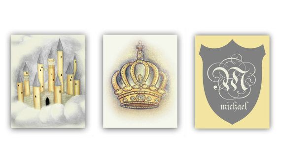 Prince Royal Baby Boy Nursery art, Castle, Crown, Monogram, Nursery wall art, Cream, Gold, Nursery decor, Boys room decor, Nursery prints, Initials
