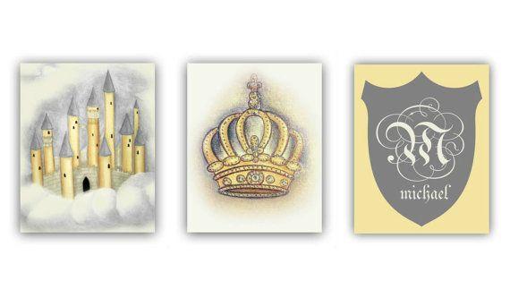 Prince Royal Baby Boy Nursery art, Castle, Crown, Monogram, Nursery wall art, Cream, Gold, Nursery decor, Boys room decor, Nursery prints, Initials