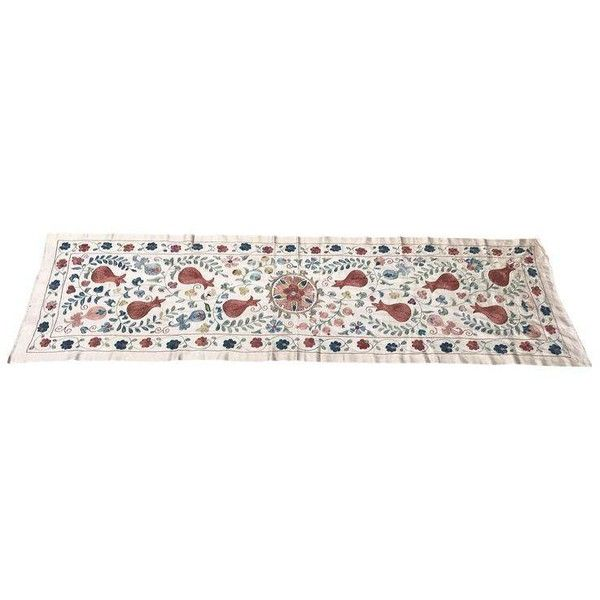 Vintage Pure Silk Suzani Table Runner (€300) ❤ liked on Polyvore featuring home, kitchen & dining, table linens, linens, vintage table runner, handmade table runners, silk table runner, vintage table linens and vintage runner