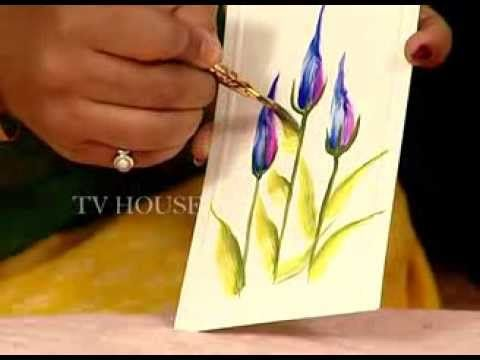 One Stroke Painting Two Different Flowers And At End Of Video She Shows Her Flower Journal