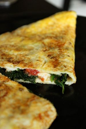 Feta Spinach Omelet- made them tonight and they are AMAZING. my 16 month old even ate a mini one :)
