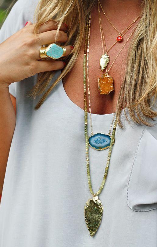 { Layered Boho Necklaces } www.jewelrybuzzbox.com