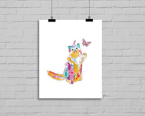 Unicorn Cat with Butterfly Caticorn Colorful by Littlecatdraw