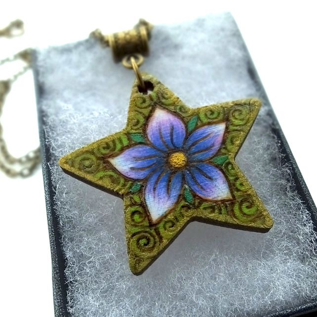 Purple Periwinkle Star, Pyrography with Colour Wooden Pendant and Necklace £14.95