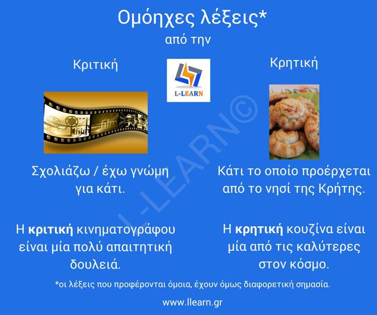 """""""Κριτική"""" ή """"κρητική""""; #vocabulary #Greek #greek #language #homonyms #λεξιλόγιο #Ελληνικά #ελληνική #γλώσσα #ομόηχες #LLEARN"""