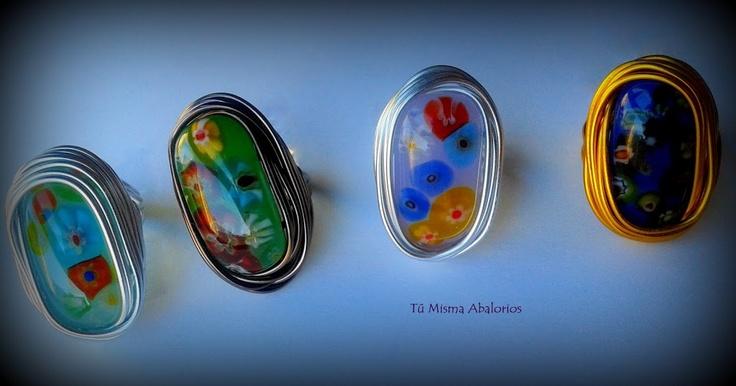 Anillos aluminio y cristal www.tumismaabalorios.blogspot.com