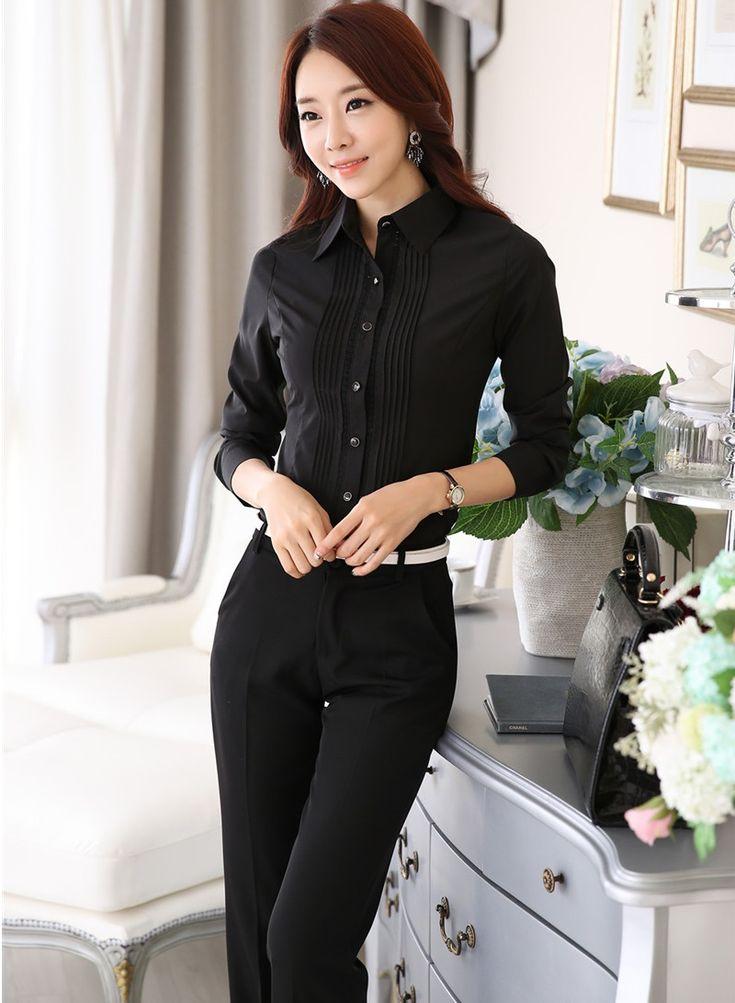 Новый элегантный черный тонкий мода женский рабочая одежда костюмы с вершины и брюки 2015 весна осень дамы офисные брюки комплект одежды