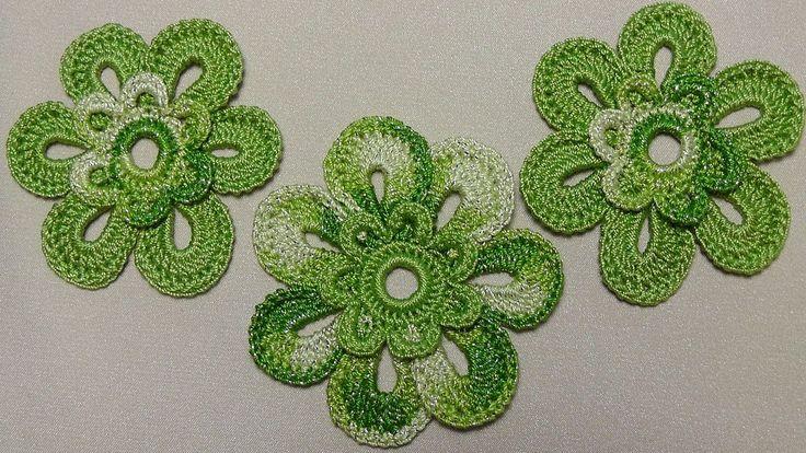 Урок вязания крючком ЦВЕТКА двухцветного. Crochet Flowers. Вязаные цветы...