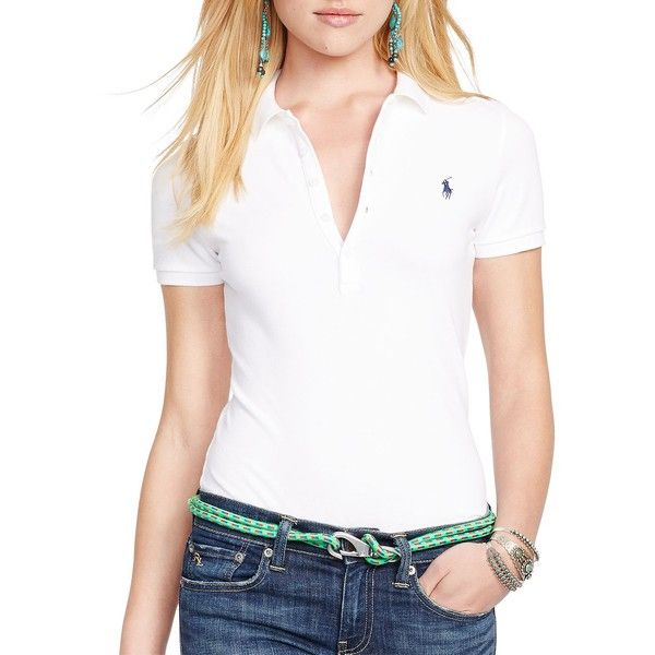 Polo Ralph Lauren Women's Stretch Cotton Polo Shirt ($90) ❤ liked on Polyvore featuring tops, white, short sleeve polo shirts, white short sleeve top, button front top, polo pullover and collar top