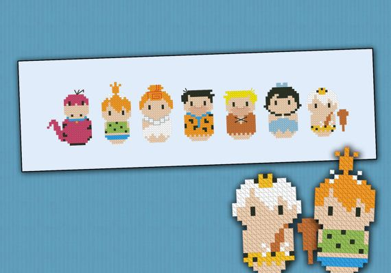 The Flintstones chibi  PDF  cross stitch pattern door cloudsfactory, $5.50
