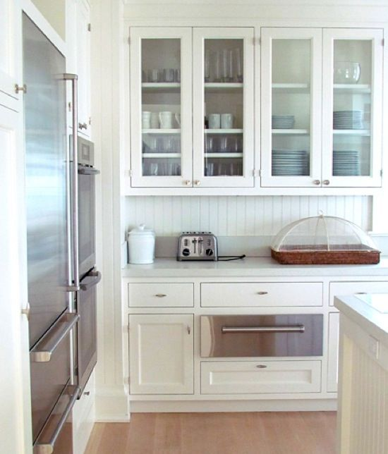 {glass-front cabinets}