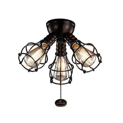 Industrial 3-Light Fan Light Kit shown in Oil Brushed Bronze