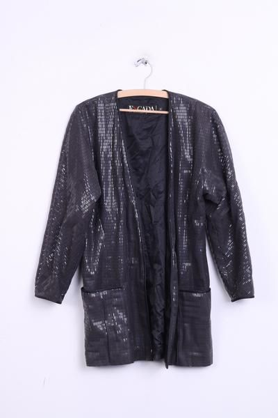 Escada Margaretha Ley Womens 40 M/L Shiny Jacket Black Party Look Sequins - RetrospectClothes