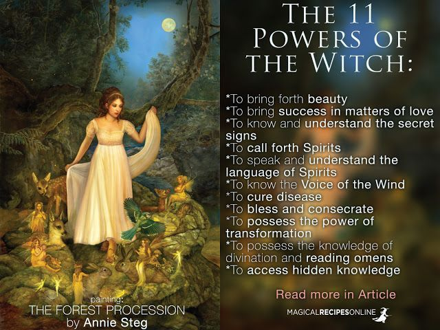 Which are the Natural powers associated with practicing Witchcraft? http://www.magicalrecipesonline.com/2016/01/the-11-powers-of-witch.html <3 Magical Recipes Online An amazing oil painting from: Annie Stegg Fine Art  Browse and buy from her official shop http://www.gallerygerard.com/store