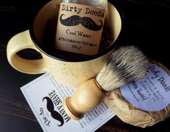 Shaving Mug Set, Black Friday Etsy, Cyber Monday Etsy, Grooming Kit, Boar Brush, Aftershave, Cologne Handmade Soap