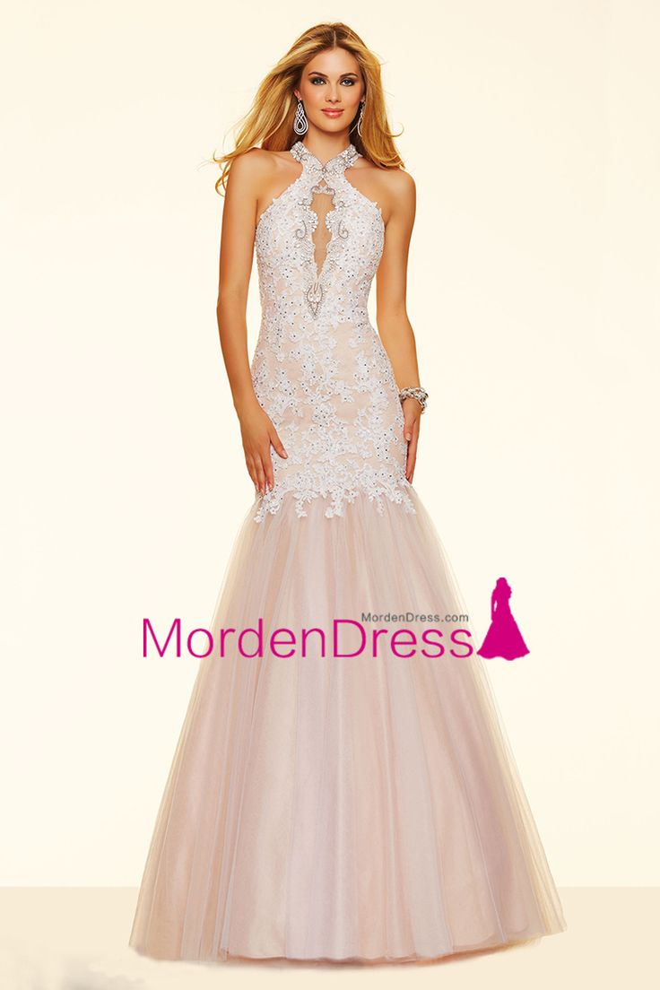 2016 Mermaid Halter Floor Length Prom Dresses Tulle With Applique And Beading