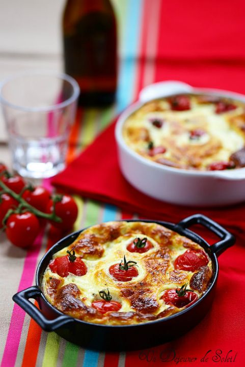 Clafoutis chèvre cendré et tomates - Goat cheese and tomatoes clafoutis
