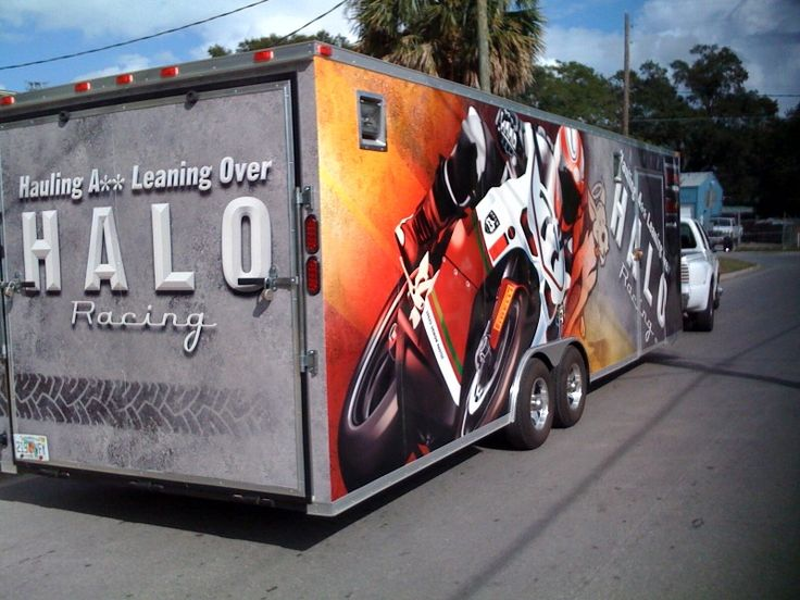 I created the trailer wrap art for this motorcyle racing team