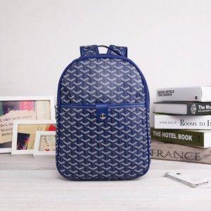 sac à dos goyard bleu 1.Marque  : goyard 2.Style  : Sac à dos Goyard 3.couleurs : bleu 4.Matériel :PVC avec cuir 5.Taille: W25cm×H32cm×D8cm