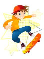 Skateboarder Boy vector art illustration