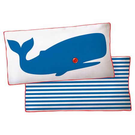 "Striped cotton canvas pillow with a whale motif.    Product: PillowConstruction Material: Cotton canvas cover and polyester fillColor: Blue and whiteFeatures:  Insert includedZipper closure Made in the USADimensions: 11"" x 21""Note: Includes one pillow. Image depicts front and back of pillow.  Cleaning and Care: Hand wash or machine wash cold"