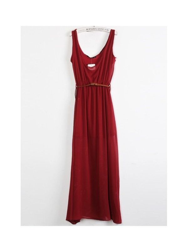 red sleeveless V-neck chiffon long dress -