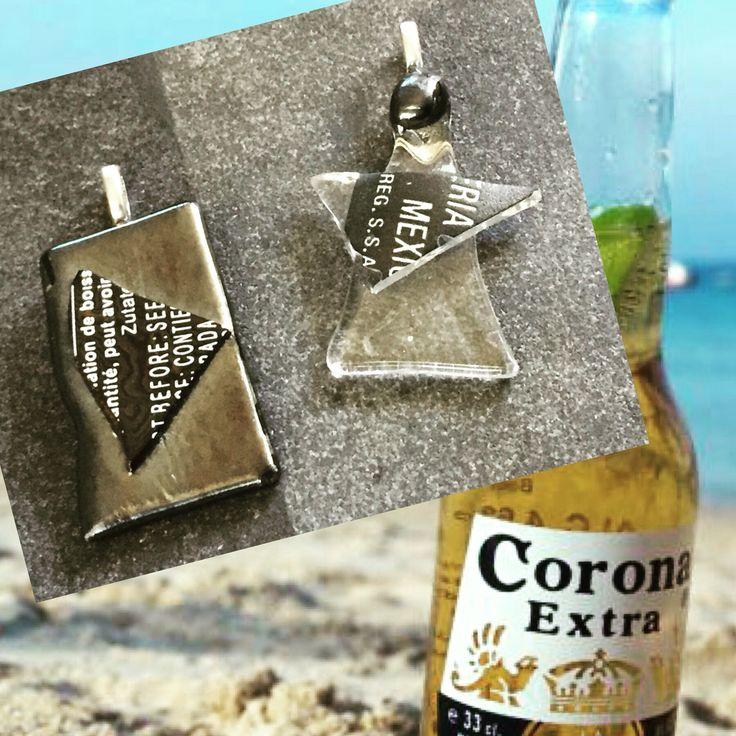 Remake smycken av en Coronaflaska #remake #återvunnet #smycke #glasfusing #fusing #lis1 #designlis1