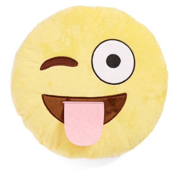 Girl's Top Trenz 'Wink Tongue Emoji' Pillow ($17) ❤ liked on Polyvore featuring yellow