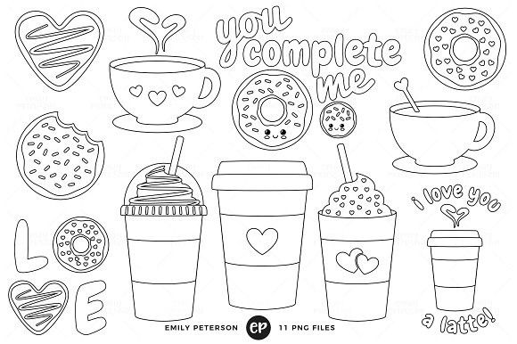 Coffee and Donuts Digital Stamps #clipart #clipart