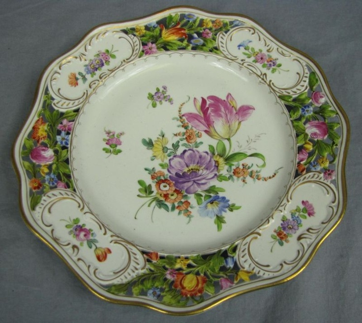 ANTIQUE DRESDEN FLORAL RETICULATED DINNER PLATE~10.25  & Best 600+ Porcelain Plates / Tureens / Bowls / Jardinieres images on ...