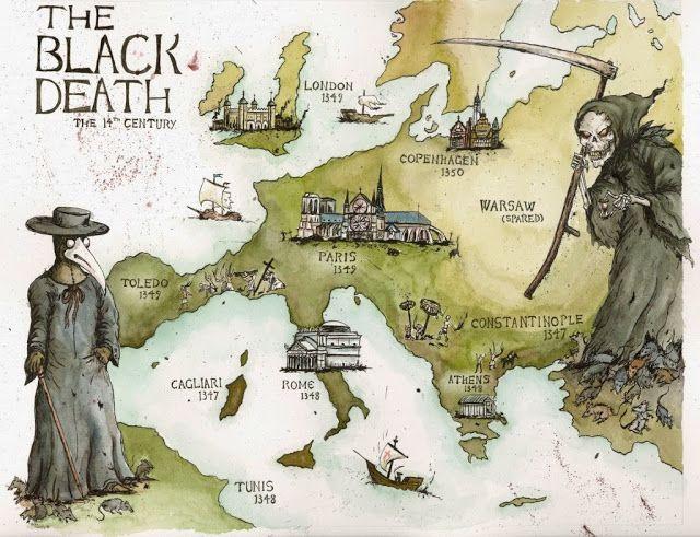 MI PARAISO ESCONDIDO: Plaga negra. Mapa de los lugares.
