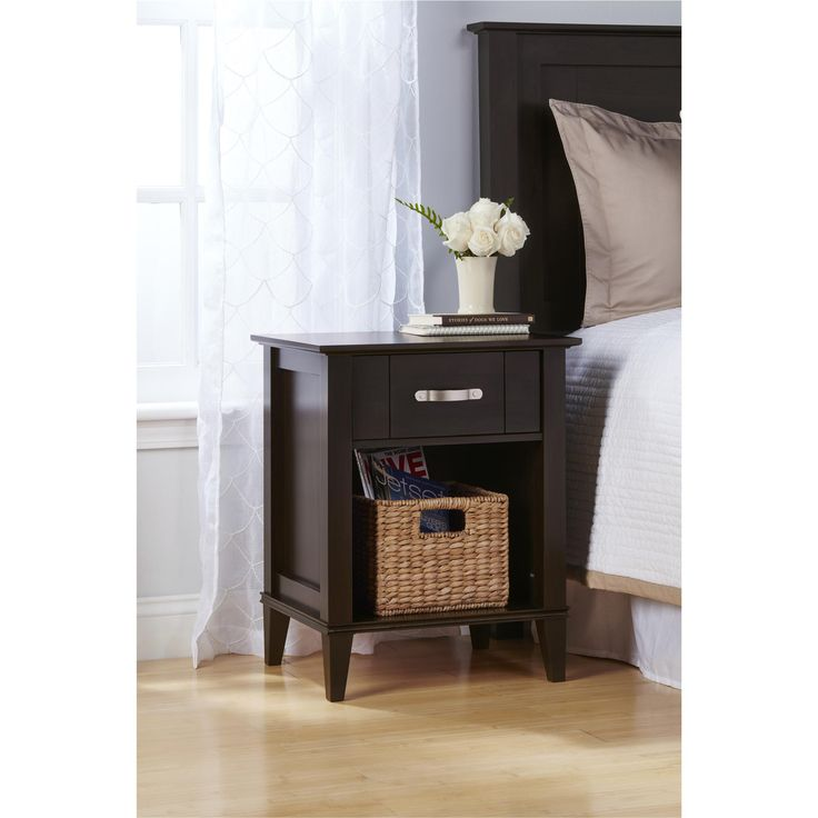 The Altra Quinn Nightstand will keep your favorite items within reach while you relax in bed. The open bottom drawer is the perfect spot to hold books for nighttime reading, and the top drawer can hold notepads, lotions, medication and other small items. The flat-top surface is just the right size for a lamp or picture frame. The espresso Nightstand will also add elegant style to your bedside. The Stand's tapered feet form a unique silhouette, and the pairing of the espresso finish with a…