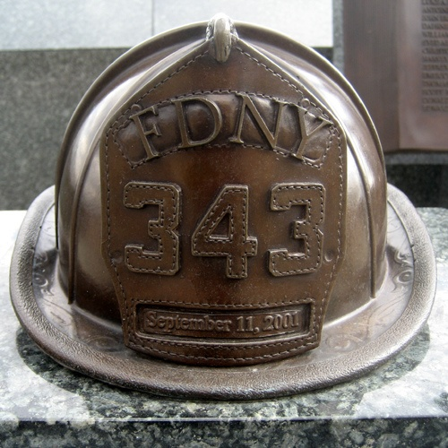 """Eagle Rock Reservation - West Orange, NJ 07052 -- Bronze FDNY helmet """"With deepest gratitude from the people of Essex County, New Jersey, in memory of the 343 New York City Firefighters who sacrificed their lives in the line of duty on September 11, 2001""""."""