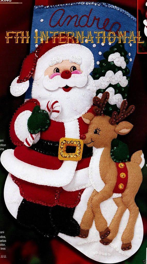 Bucilla Santa & Reindeer 18 Felt Christmas Stocking