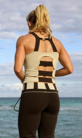 EQ Talia beige.Show off your hard work with this open back tank.