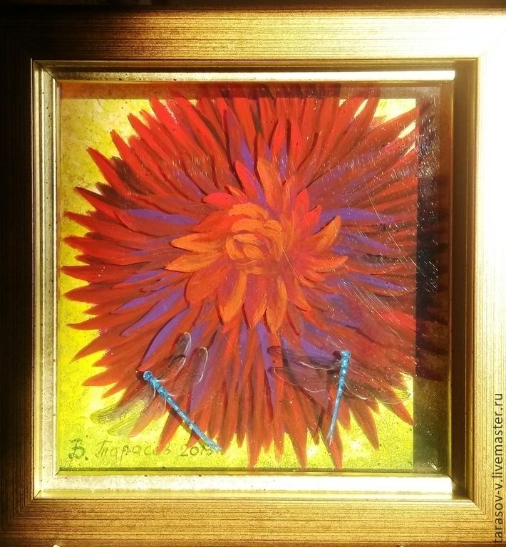 Купить Синие стрекозы на георгине (Авторская 3д картина) - ярко-красный, цветок, солнце, стрекозы
