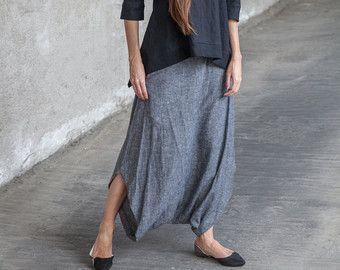 2016 Women Gray Linen Pants Boho Linen Pants for by Dressromantic