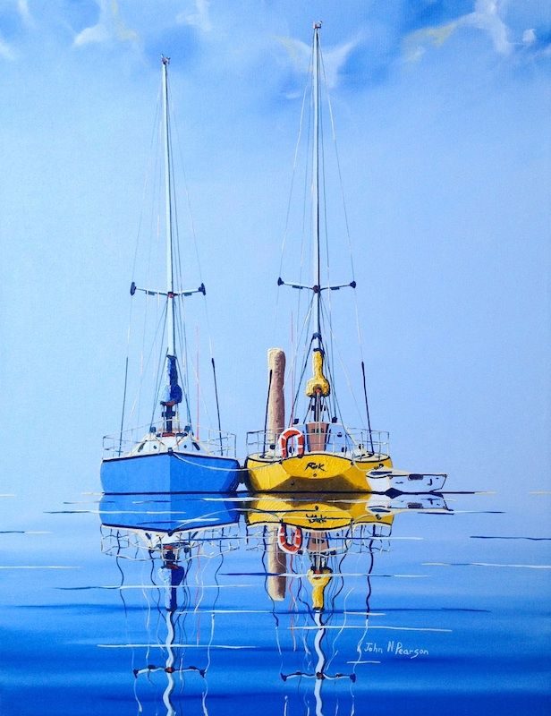 ON THE MOORING POLE by John N Pearson Original Art for Sale - ART101 Art Gallery & Framing