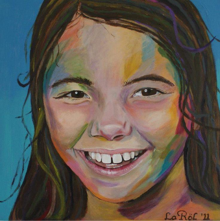 Portret in kleur afmeting 50 x 50 cm acrylverf op 3D doek