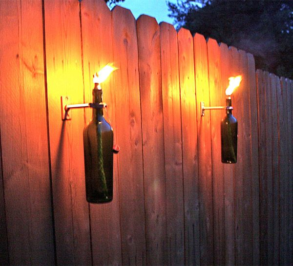 Wine Bottle Tiki Torches for your backyard... Not be used inside!