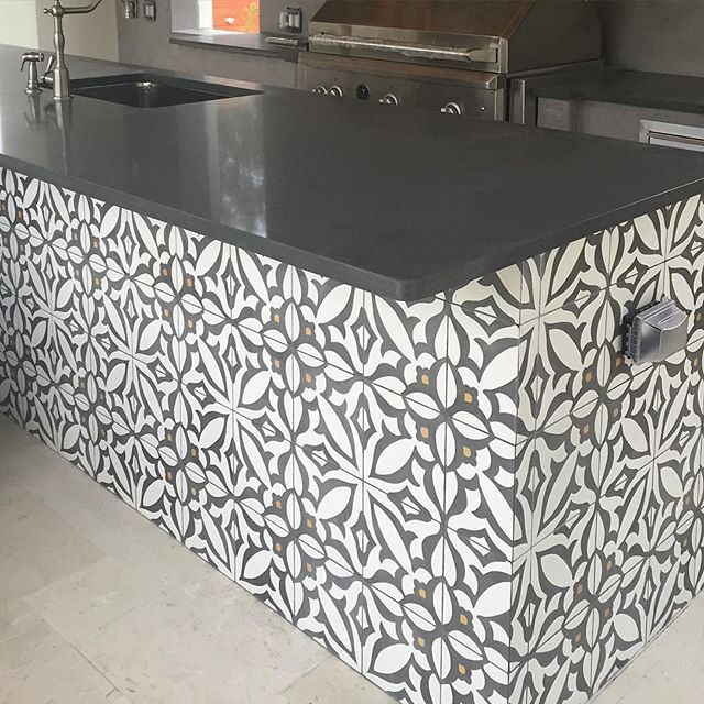 Cement tile on outside kitchen.