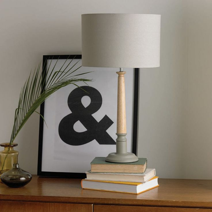 Oslo wooden two tone table lamp grey