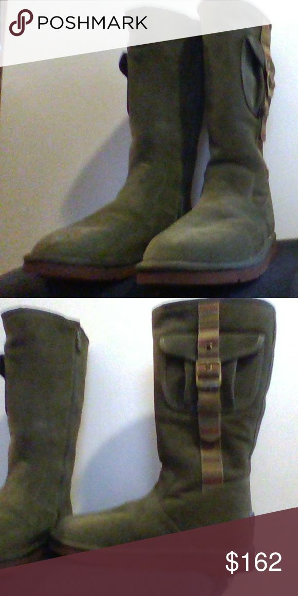 UGG Boots New! Never Worn! Original UGG @Australia - Hunter Green Suede High/Calf boots. Rubber sole, warm, genuine sheep skin lining. Pocket detail. Box not available. UGG Shoes Ankle Boots & Booties
